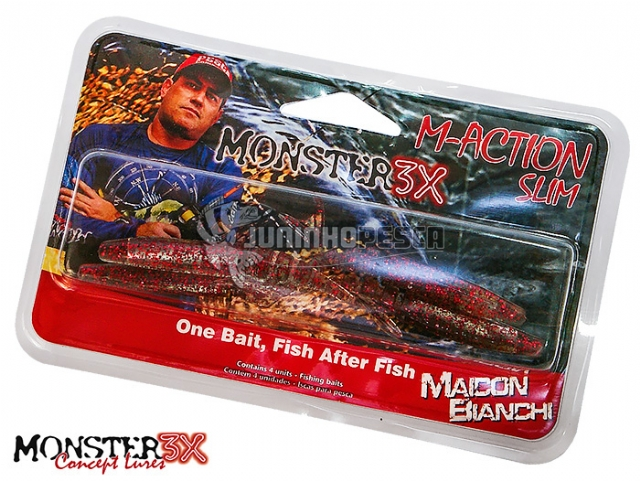 Isca Artificial Monster 3X M-Action Slim Soft Bait