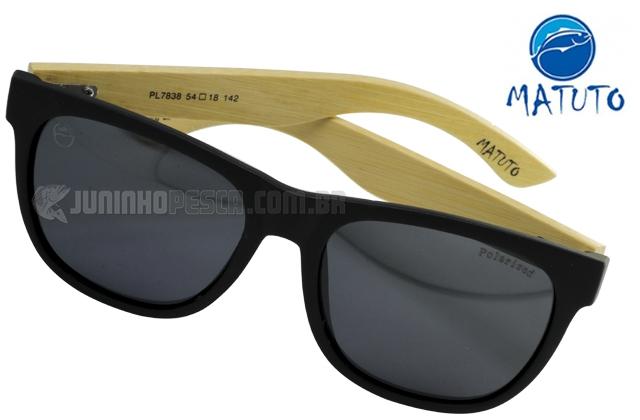 cab40e1ca Óculos Polarizado Matuto PL7838 Preto Bamboo com lente Fumê ...