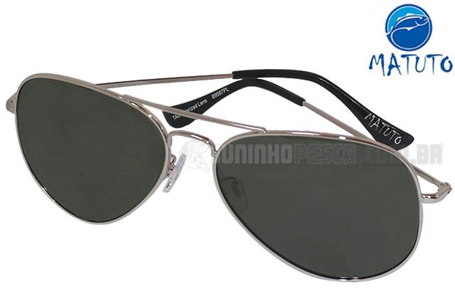 57048723d Óculos Polarizado Matuto 89587PL Aviador Prata Fumê | JUNINHOPESCA